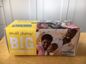 photograph of Tearfund collection box
